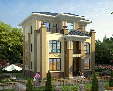 永云别墅AT1745简欧风格三层带露台别墅设计施工图纸11mx12.2m