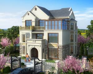 AT1750江山市优雅三层带阳光房复式别墅设计施工图纸13.5mx11.3m