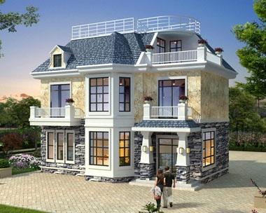 AT1762二层带阁楼简欧漂亮实用小别墅建筑施工图纸11.8mX7.6m