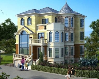 AT1779欧式三层带地下室车库复式楼别墅全套施工图纸12.4mX13.2m