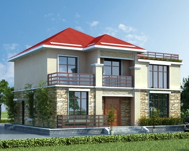 AT1783美观大方二层复式楼带屋顶花园自建别墅施工图纸12.8mX11.2m
