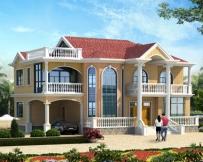 AT1790漂亮二层简欧带车库复式别墅设计施工图纸18.9mX16.2m