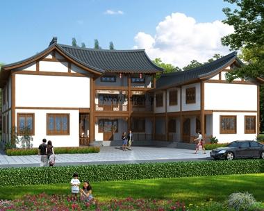 AT1792二层中式三合院兄弟别墅设计全套施工图纸25.6mX23.6m