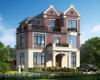 AT1801英伦风三层带内庭院漂亮别墅设计施工图纸10.9mX15.8m