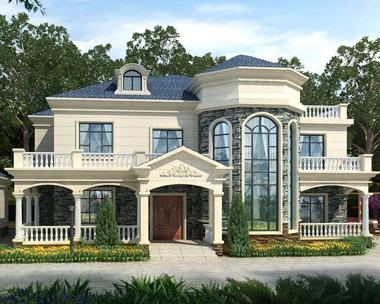 AT1835大气简欧式二层私人休闲度假别墅设计图纸及外观效果图26mX13m