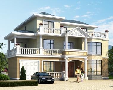 AT1829带车库三层复式客厅楼中楼农村私家别墅设计施工图纸16mX15m