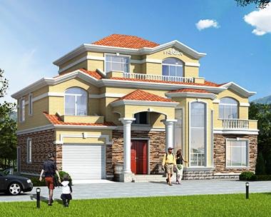 新品AT1839简欧二层半层复式楼带车库私家别墅图纸17.4mX13.5m