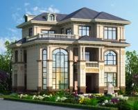 2020新款AT1856带庭院欧式三层复式漂亮别墅设计图纸12.6mX10m