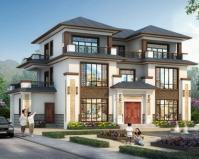 【带装修图】AT1857典雅新中式三层私家别墅设计施工图纸17.7mX10.8m