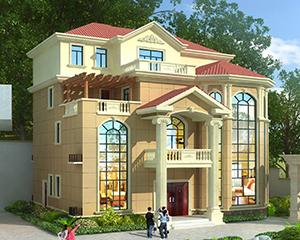 2020新款-送院门设计-AT1878欧式四层复式楼大气别墅设计图纸15.2X15.5