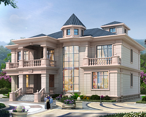 AT1926奢华简欧二层带大玻璃通窗复式楼别墅设计施工图纸16.5mX16.5m