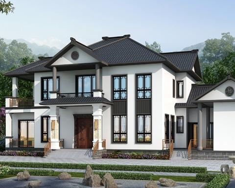 2021新款AT1948带内院/柴火房经典新中式二层合院别墅图纸27mX12.7m