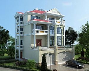 永云别墅AT1687四层带商铺车库复式别墅设计图纸11.6mx17.1m