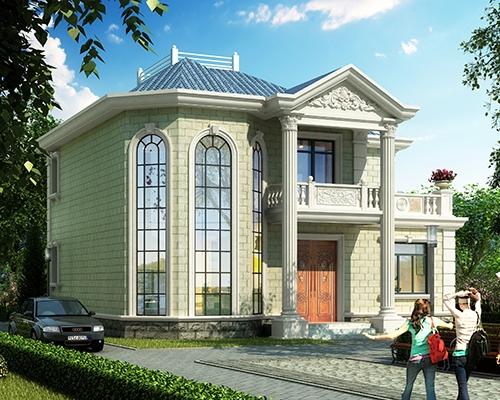 农村私家自建AT1822时尚二层复式小别墅设计图纸11.7mX12m