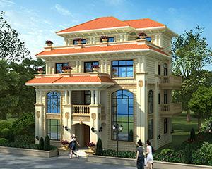 AT1765经典大气占地130平四层简欧风格别墅设计图纸11.6mX11.8m