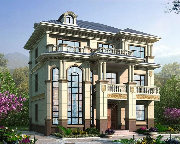 简欧风格110平三层复式楼(门厅客厅挑空)别墅定制案例
