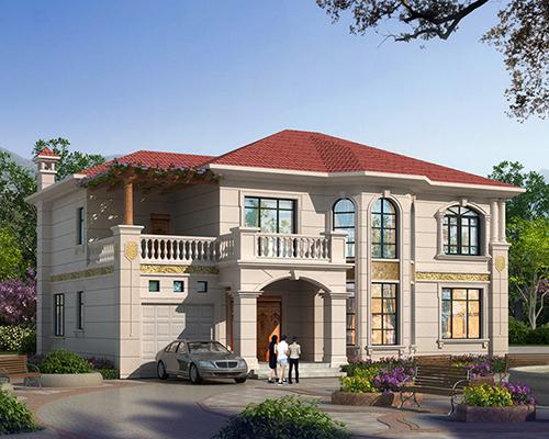 [实地设计]带车库四开间两层欧式小别墅个性设计案例