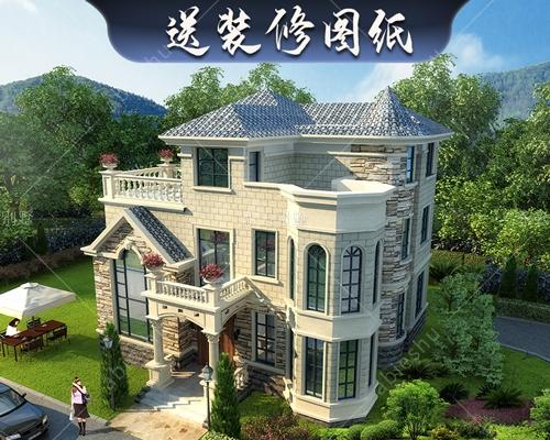 永云别墅AT1630欧式豪华复式三层别墅建筑施工图纸12.2mx10.7m