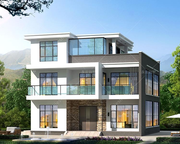 新款AT2809占地150平米现代三层简约大方别墅设计图12mX11.8m