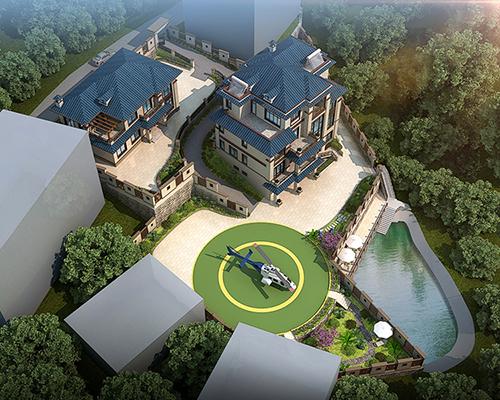 邵阳隆回带停机坪240平新中式/19×15四层带园林景观别墅设计