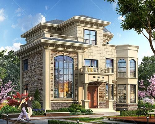 AT2808占地150平米欧式三层简约大方别墅设计施工图纸14mX13m