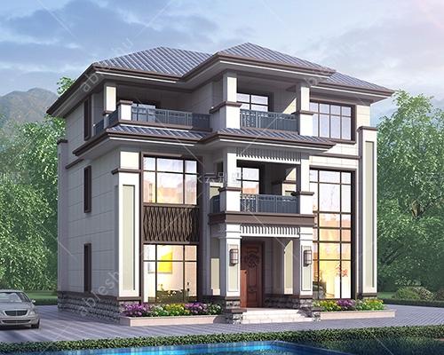 占地120平米AT2813新中式三层简约风格别墅施工图纸11.7mX10.8m